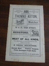 HEREFORD, Thomas Aston, BUTCHER, double sided vintage advertising card, c1880s ?