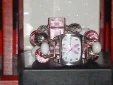 Pre-Owned Women's Pink & Silver Narmi Cancer Awareness Charm Band Bracelet Watch