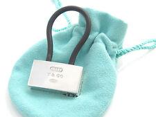 Padlock Black Rubber Key Ring Chain Keychain! Tiffany & Co New Rare Silver 1837