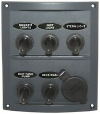 5 Gang & 1 Power Socket Toggle Switch Panel Grey Splash Pre- Wired With Fuses.
