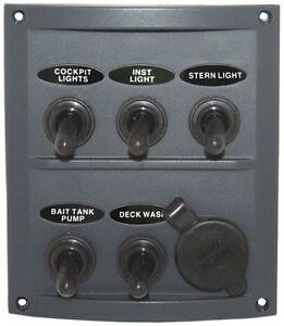 Switch Panel Fused 12 volt Splash Proof 5 Gang Marine Toggle Switch + Cig Socket