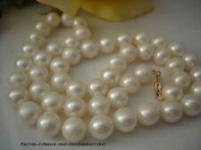 Kette aus Echten Perlen Weiß Rund 45cm, 14Kt. / 585er Gelbgold , TOP Geschenk