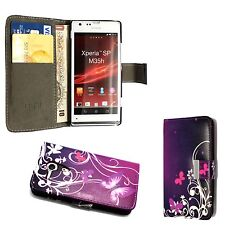 CASE FOR SONY XPERIA SP PURPLE PINK BUTTERFLY WHITE SWIRL WALLET FLIP COVER