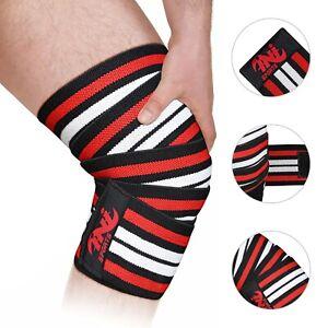 "INI Knee Wrap Weight Lifting Bandage Strap Guard Pads Power lifting 78"" Pair Gym"