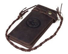 Vintage Men Leather Clutch Long Wallet With Chain Cowboy Purse Phone Card Holder