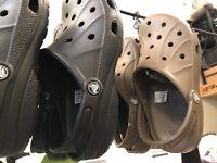 CROCS Slip on Shoes, Mens or Ladies, Walnut Brown or Black Clogs