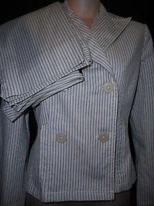 Ann Taylor Womens Double Brasted Pants Suit Blazer Jacket Coat Sz 8P Small Blue