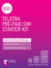 Australia Telstra Mobile $30 Prepaid SIM with 2.5G data and call credit (3G/4G)