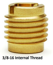 E-Z Lok P/N 400-6, 3/8-16 Threaded Brass Insert For Wood (10 Pieces)