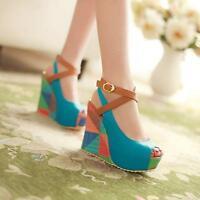 Womens Platform Buckle Slingback Sandals Peep Toe Wedge Heels Shoes Mixed Color