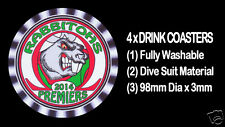 4  x RABBITOHS 2014 PREMIERS FOOTBALL RUGBY LEAGUE DRINK COASTERS Fully Washable