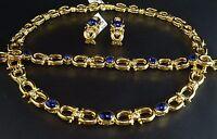 Royal Blue Sapphire Cabochon Diamond 18K Gold 121g Necklace Bracelet Earrings