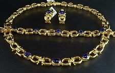 Blue Sapphire Cabochon Diamond 18K Y Gold 121g Necklace Bracelet Earrings Set