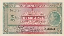 More details for p12 malta five shillings banknote in near mint to mint condition dated 1939