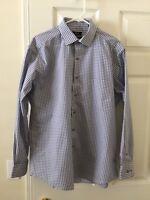 Alfani Mens Performance Shirt Long Sleeve 16 34/35 Large Blue Gray Stripes