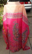Vintage Silk Half? SAREE Salmon & Hot Pink, Gold Threads, Turquoise Green Yellow