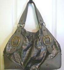 Jessica Simpson #JS8540 Lg Gray Faux Croc Hobo Satchel Purse Bag w/ Buckles EXC