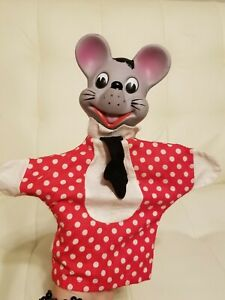 Rare Vintage Knickerbocker 1964 Mouse Hand Puppet Polka Dot