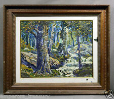 Colorful 20th Century Impressionistic Oil Painting Wooded Forest Landscape