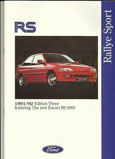 FORD ESCORT RS 2000, SIERRA RS COSWORTH AND FIESTA RS SALES BROCHURE 1991 1992