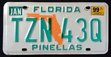 "FLORIDA "" ORANGE STATE MAP - PINELLAS "" 1999 FL Vintage Classic License Plate"