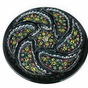 Turkish Handmade Ceramic Pottery Bowl Snack Serving Decorative Plate Set 8 Pcs