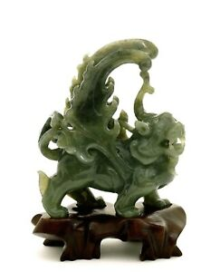 Vintage Chinese Spinach Jade Carved Carving Wing Unicorn Fu Foo Lion Wood Stand