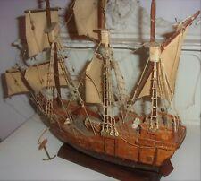More details for vintage hand made wooden model ship boat ~  antique elizabethan wood galleon