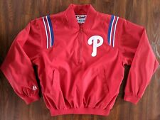 VTG Philadelphia Phillies Majestic Embroidered Zip Pullover Jacket Men's Size M