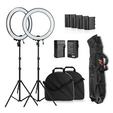2x Portable 600 LED Video Studio Film Ring Light Kit +Stand +F970 Battery +Bag