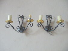 2 appliques en  FER FORGé  (fer plat torsadé)  2 lumières  haut 23 cm electrifié