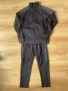 Boys Black Adidas Tracksuit Size 9-10 Top & 7-8 Bottoms