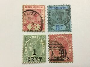 old stamps  BRITISH HONDURAS    x  4
