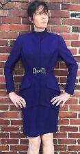 THIERRY MUGLER wool Metal closure Skirt Suit Sz 38 4 Navy Blazer Couture Paris