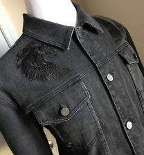 New $970 Roberto Cavalli Mens Jeans Jacket Coat Black 48 US ( 58 Eu) Italy