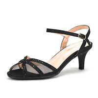 NINA Women's Wedding Dress Rhinestones Open Toe Classic Low Heel Sandals Shoes