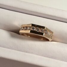 14k Yellow Gold 1 Ct Diamond SI VS Pave Channel Set Mens Wedding Band Ring 11.5