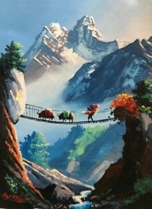 "MOUNT AMA DABLAM LUKLA BRIDGE ORIGINAL ACRYLIC PAINTING IN CANVAS 11"" x 15"""