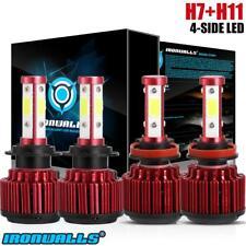 H11 H7 4000W 4side LED High Low Beam Headlight Bulbs Kits 6500K 600000LM 2pair