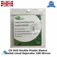 500 x CD DVD Double Plastic Sleeve Wallet Cover with Cloth Lined Separator HQ