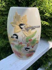 Limited Edition Handpainted Lenox Vase Chickadee Signed 54/200