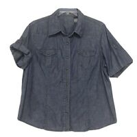 Liz Claiborne Blue Chambray Denim Blouse Sz 2X Short Tab Sleeve Western Yolk