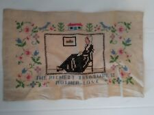 """Antique Needlepoint Sampler 'The Richest Treasure is Mother-Love' 12.5"""" x 7.75"""""""