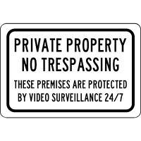 "Aluminum Metal Sign - Private Property No Trespassing 24/7 Surveillance 8"" X 12"""