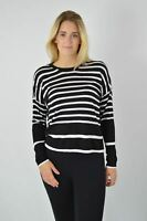 MARKS & SPENCER Womens Black White Stripe Fine Knit Jumper Round Neck RRP £25