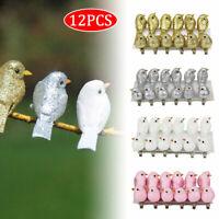 12tlg Vogel Glitter mit Glitter und Clip zum Anklemmen Dekovogel Glittervogel
