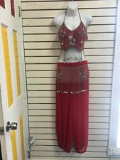 (#110013)New Red Belly Dance Beaded Sequin Costume Set Halter Top Size 36-38B/C