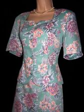 BNWT Laura Ashley vintage duck-egg floral two pieces suit knee skirt & blazer 12