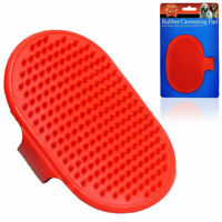 Dog Puppy Cat Animal Hand Rubber Grooming De-Matting Hair Fur Massage Pad Brush