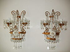~c 1930 Italian RARE Murano Drops & Beads Tole Huge Rose Sconces~